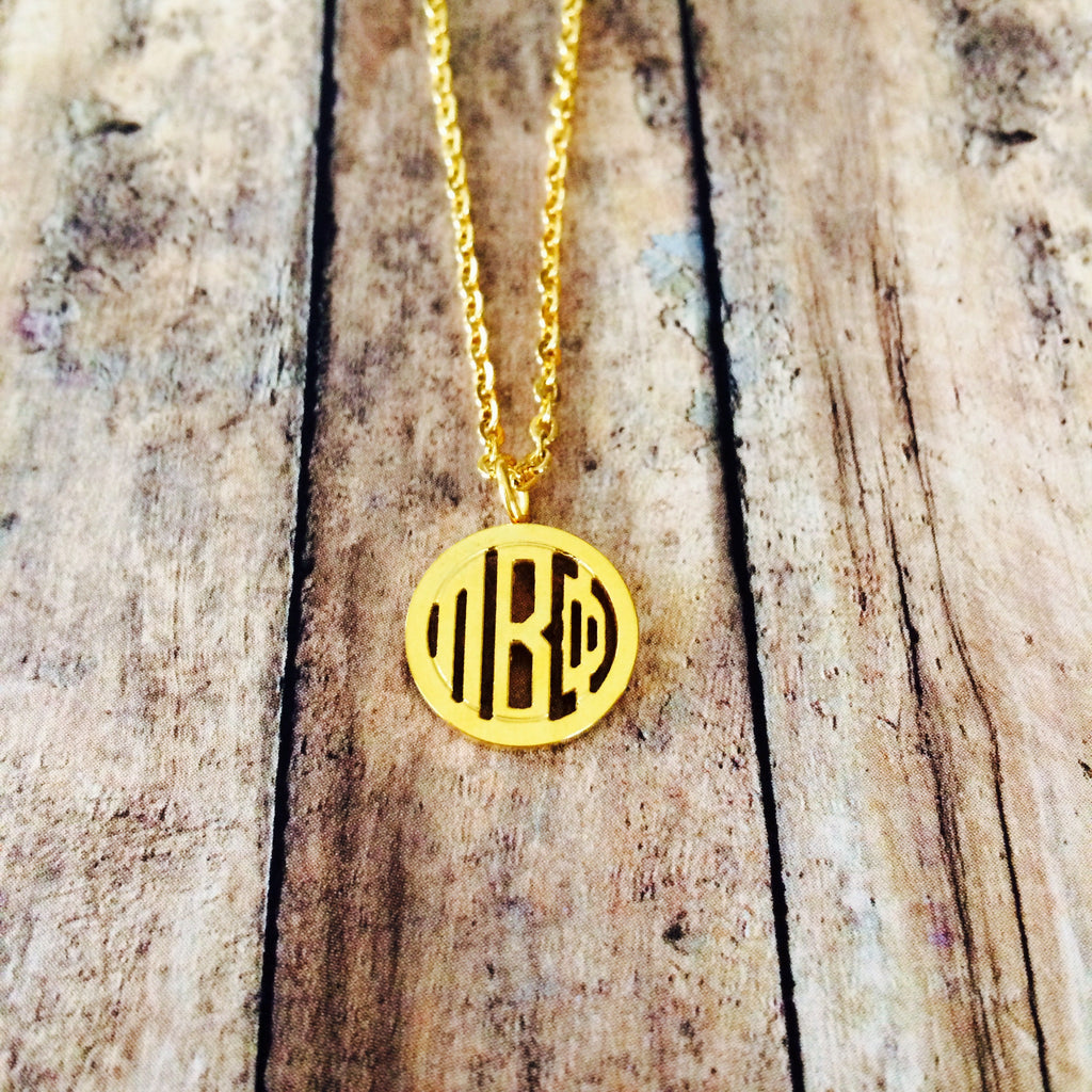 Pi Beta Phi Monogram Style Necklace (Gold)