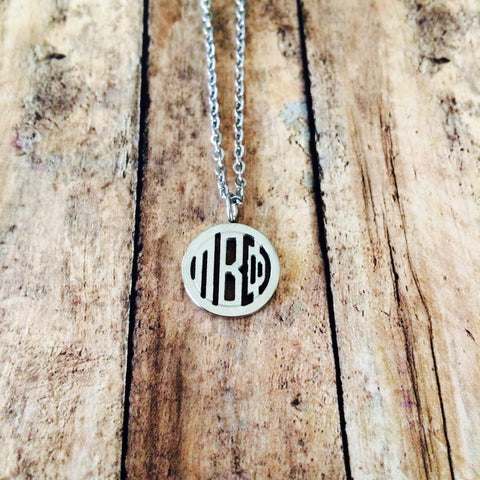 Pi Beta Phi Monogram Style Necklace (Silver)
