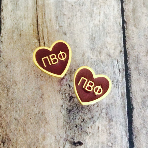 Pi Beta Phi Enameled Heart Earrings (Gold)