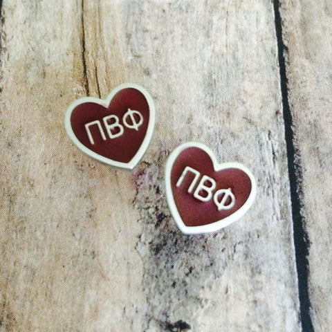 Pi Beta Phi Enameled Heart Earrings (Silver)