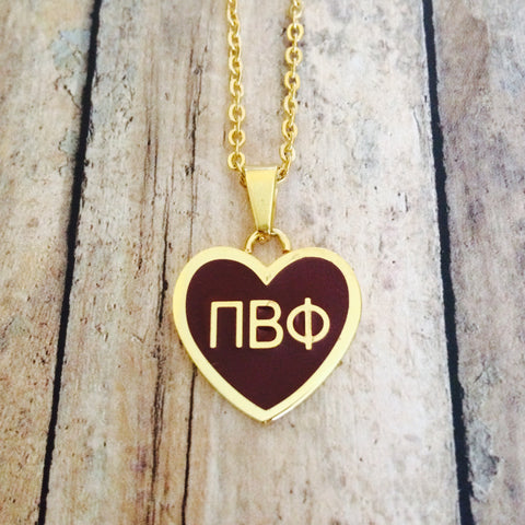 Pi Beta Phi Enameled Heart Necklace (Gold)