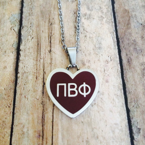 Pi Beta Phi Enameled Heart Necklace (Silver)