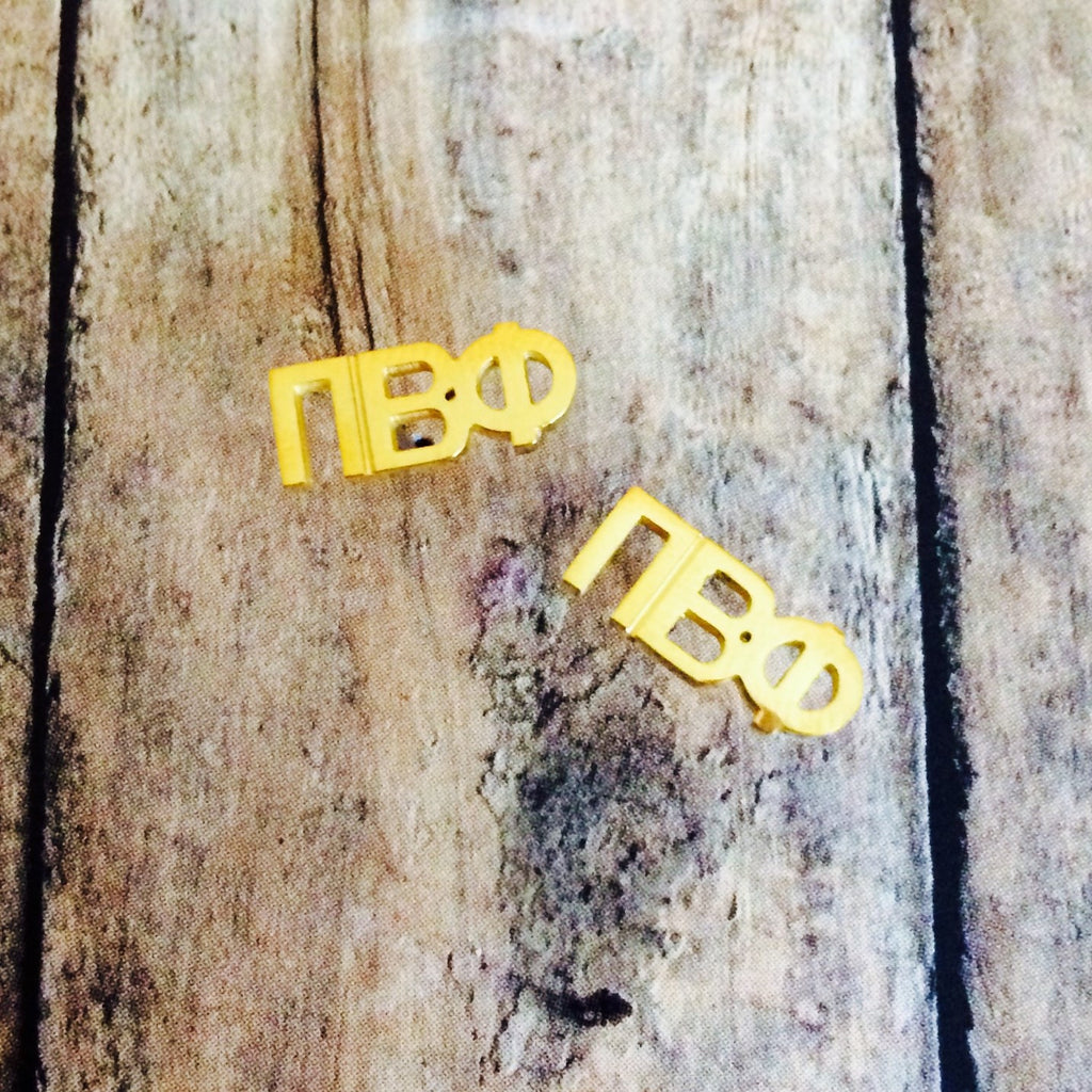Pi Beta Phi Letter Stud Earrings (Gold)