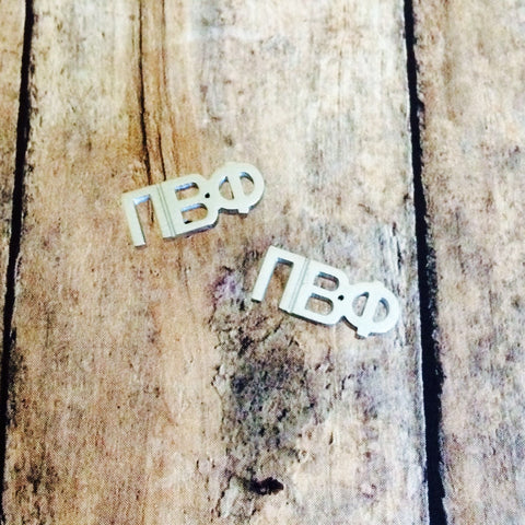 Pi Beta Phi Letter Stud Earrings (Silver)