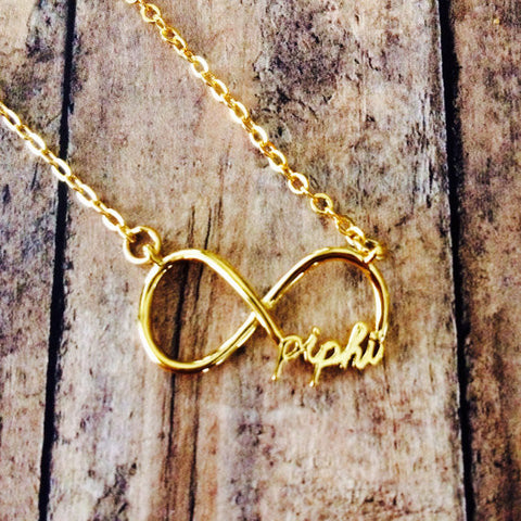 Pi Beta Phi Infinity Necklace (Gold)