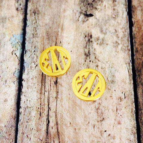 Sigma Delta Tau Monogram Style Stud Earrings (Gold)