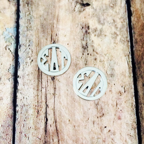 Sigma Delta Tau Monogram Style Stud Earrings (Silver)