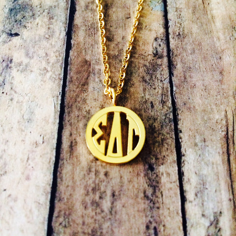 Sigma Delta Tau Monogram Style Necklace (Gold)