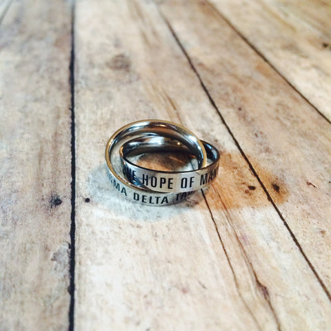 Sigma Delta Tau Interlocking Quote Rings (Silver)