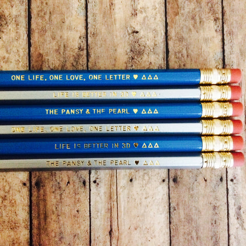 Delta Delta Delta Quote Pencils with Gold Foil Text
