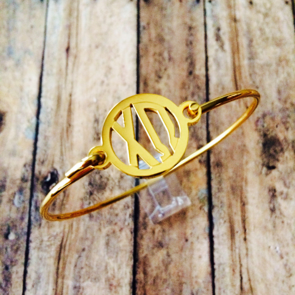 Chi Omega Monogram Style Bangle Bracelet (Gold)