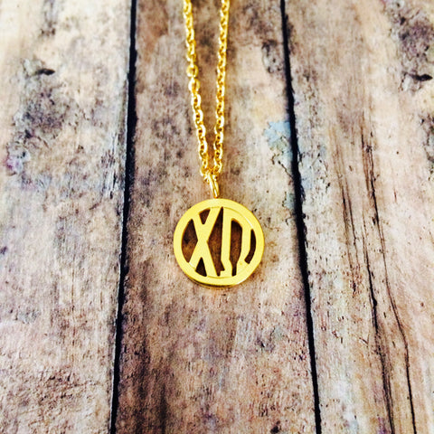 Chi Omega Monogram Style Necklace (Gold)