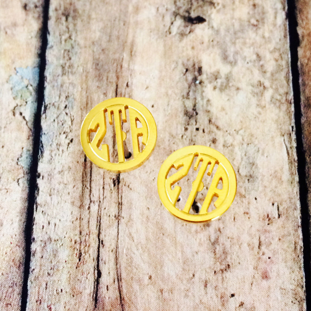 Zeta Tau Alpha Monogram Style Stud Earrings (Gold)