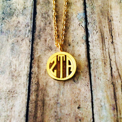 Zeta Tau Alpha Monogram Style Necklace (Gold)