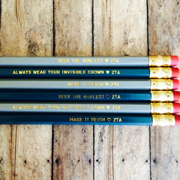 Zeta Tau Alpha Quote Pencils with Gold Foil Text