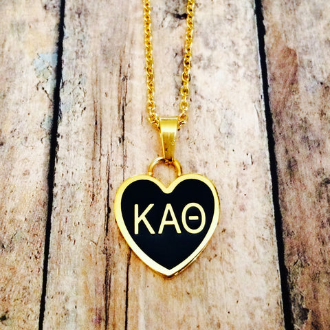Kappa Alpha Theta Enameled Heart Necklace (Gold)