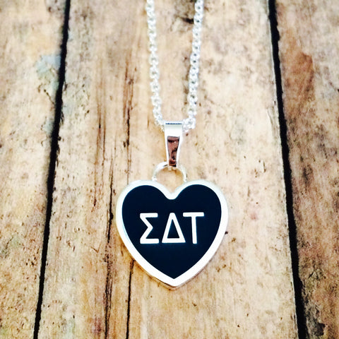 Sigma Delta Tau Enameled Heart Necklace (Silver)