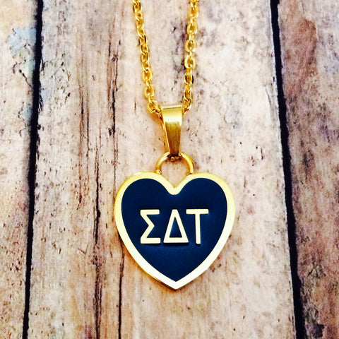 Sigma Delta Tau Enameled Heart Necklace (Gold)