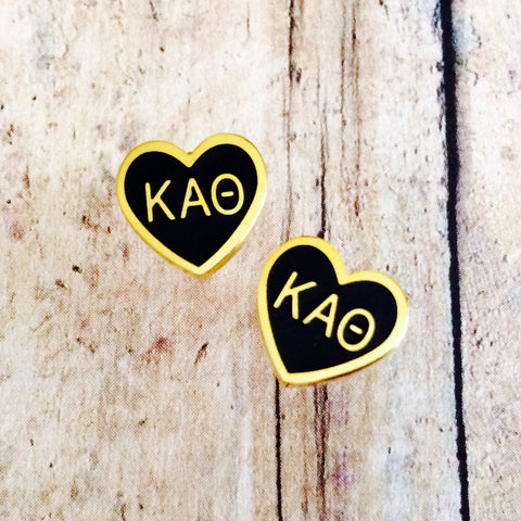 Kappa Alpha Theta Enameled Heart Earrings (Gold)