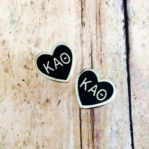 Kappa Alpha Theta Enameled Heart Earrings (Silver)