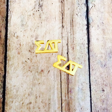 Sigma Delta Tau Letter Stud Earrings (Gold)