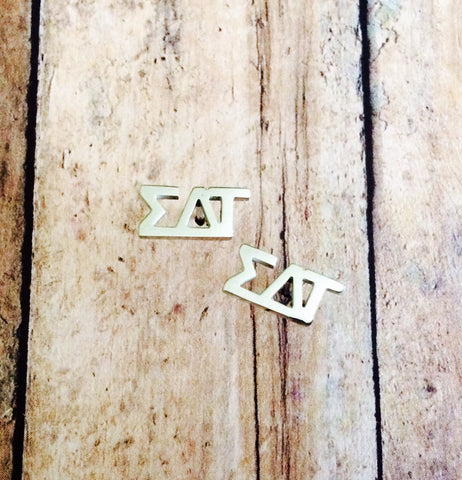 Sigma Delta Tau Letter Stud Earrings (Silver)