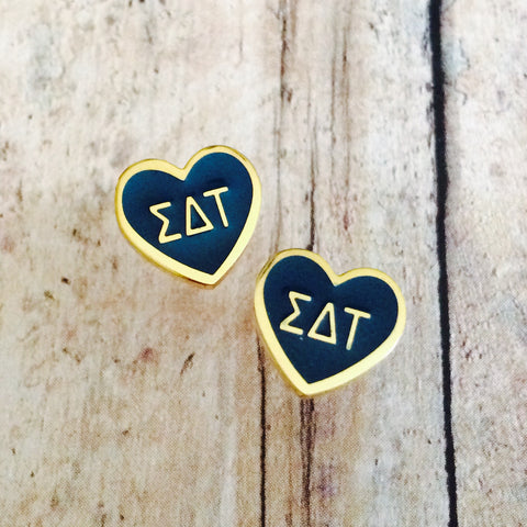 Sigma Delta Tau Enameled Heart Earrings (Gold)