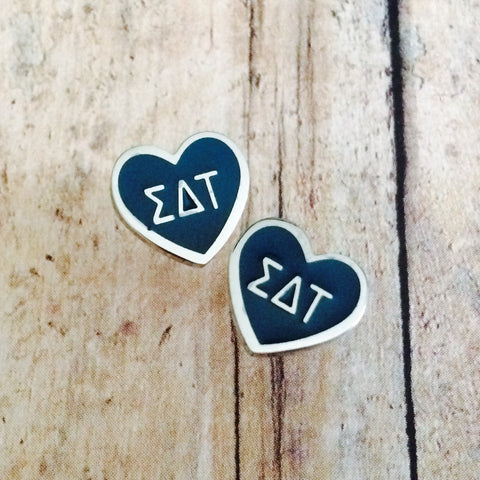 Sigma Delta Tau Enameled Heart Earrings (Silver)
