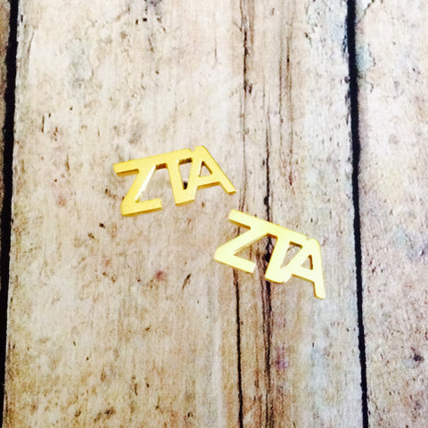 Zeta Tau Alpha Letter Stud Earrings (Gold)