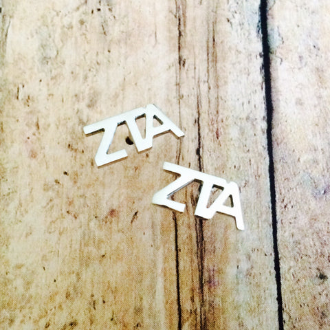 Zeta Tau Alpha Letter Stud Earrings (Silver)