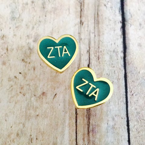 Zeta Tau Alpha Enameled Heart Earrings (Gold)