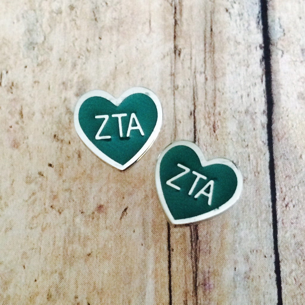 Zeta Tau Alpha Enameled Heart Earrings (Silver)