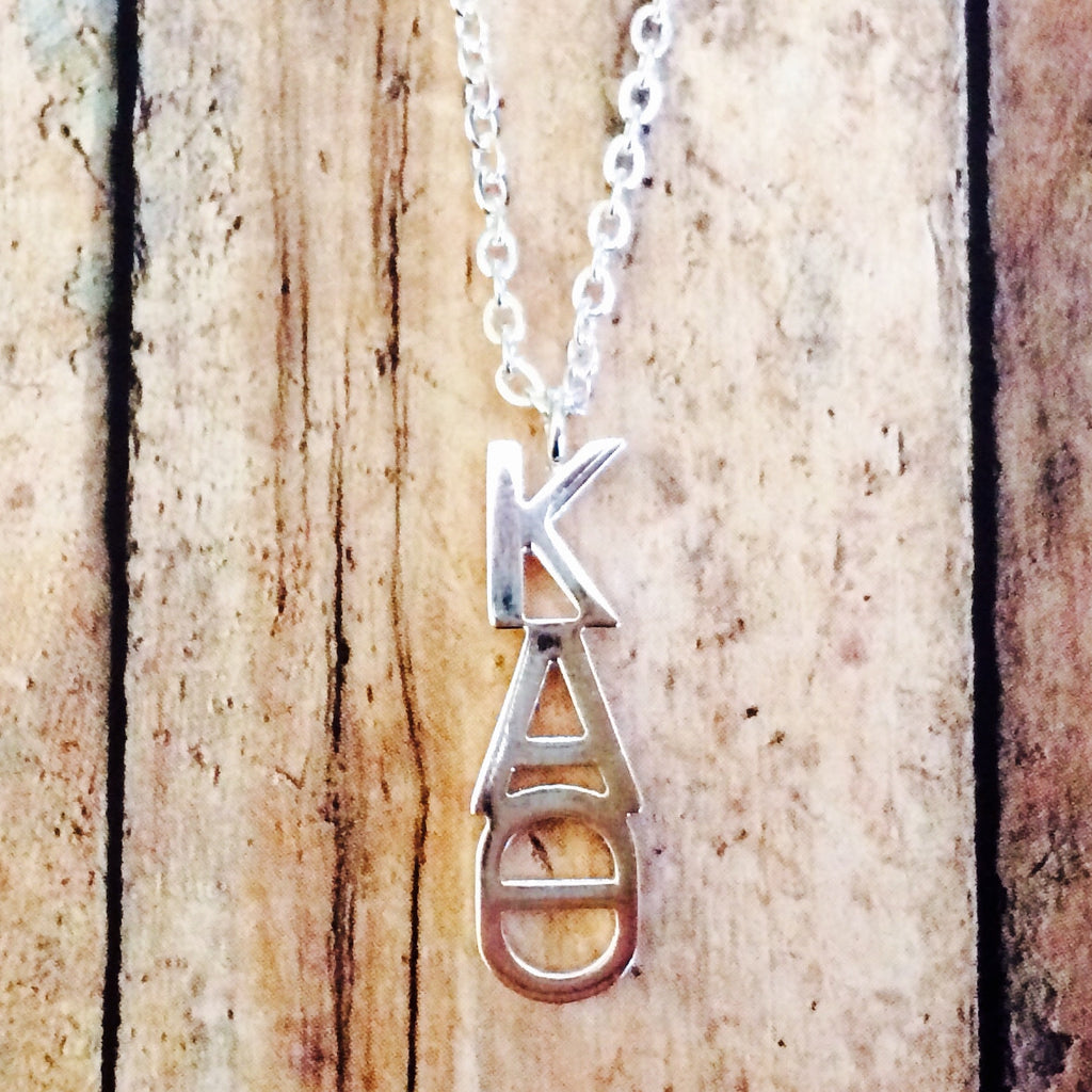 Kappa Alpha Theta Classic Letter Necklace (Silver)