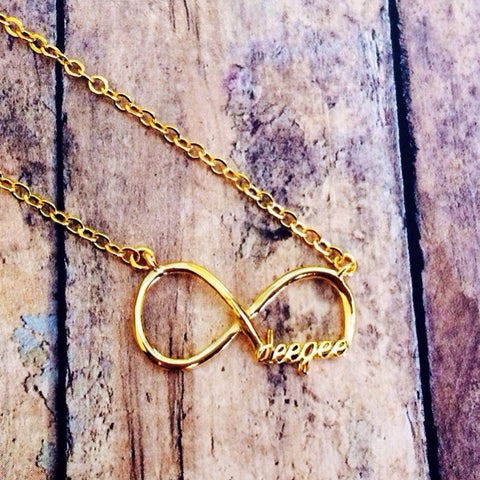"Delta Gamma ""deegee"" Infinity Necklace (Gold)"