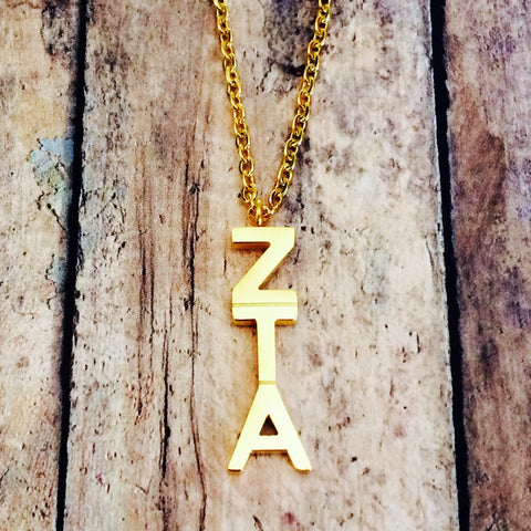 Zeta Tau Alpha Classic Letter Necklace (Gold)