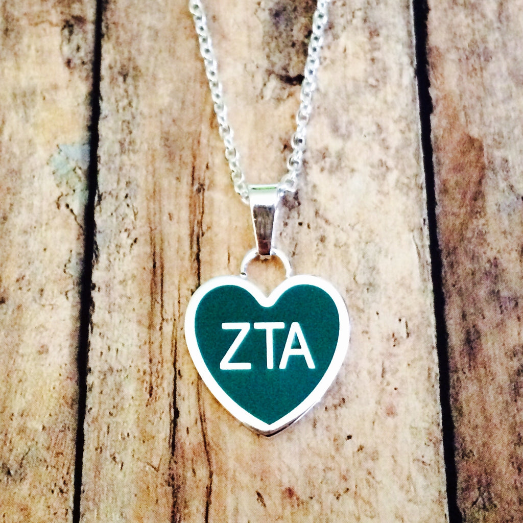 Zeta Tau Alpha Enameled Heart Necklace (Silver)