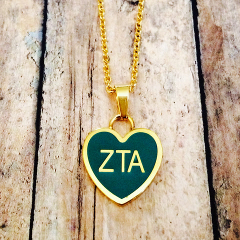 Zeta Tau Alpha Enameled Heart Necklace (Gold)