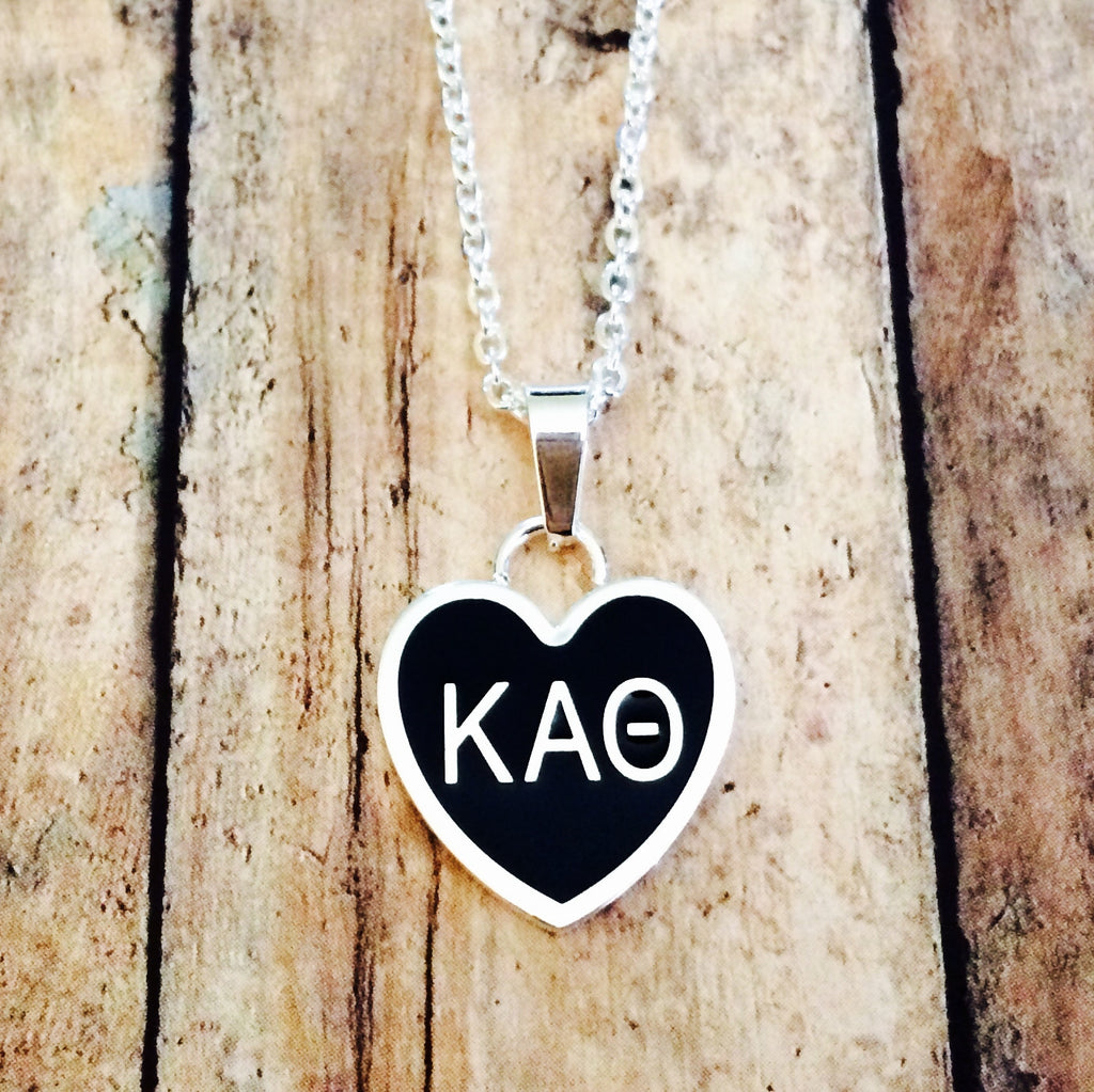Kappa Alpha Theta Enameled Heart Necklace (Silver)