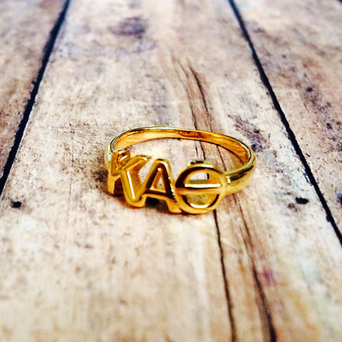 Kappa Alpha Theta Classic Letter Ring (Gold)