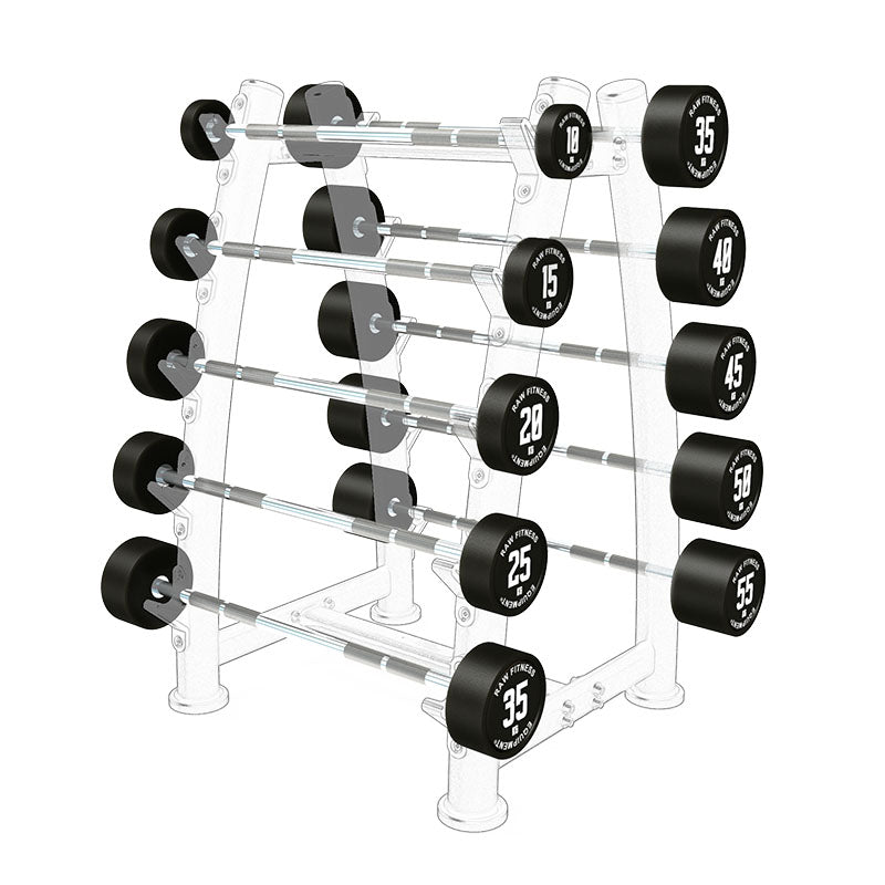 Fixed Straight CPU Barbell - 10KG - 55KG Pack - RAW Fitness Equipment
