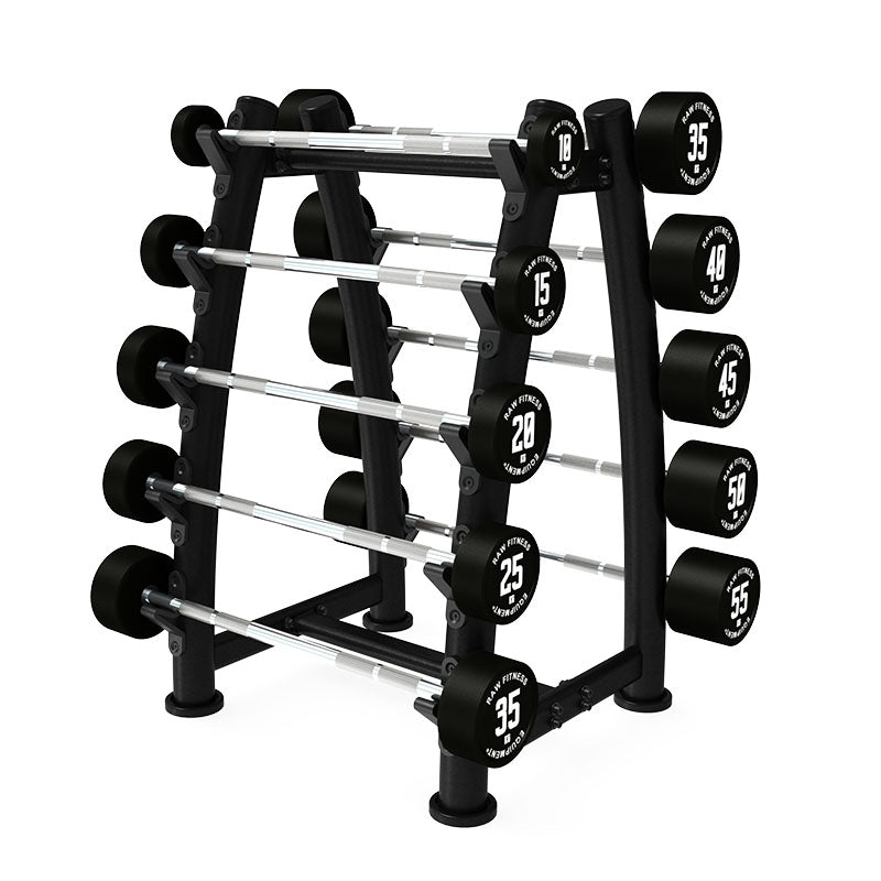 Fixed Straight CPU Barbell - 10 - 55KG Pack With Rack - RAW Fitness Equipment
