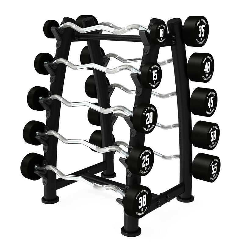 BARBELL – FIXED EZ CPU 10KG – 55KG SET W/RACK - RAW Fitness Equipment