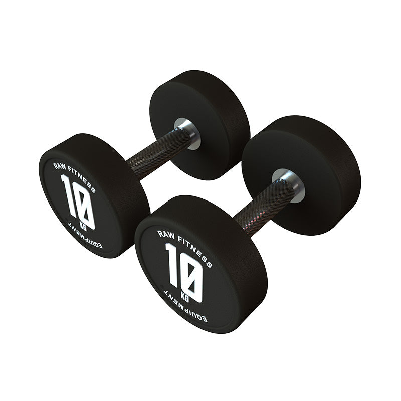 DUMBBELL – CPU ROUND 10KG PAIR - RAW Fitness Equipment