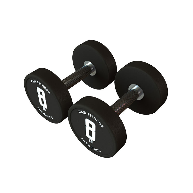 DUMBBELL – CPU ROUND 8KG PAIR - RAW Fitness Equipment