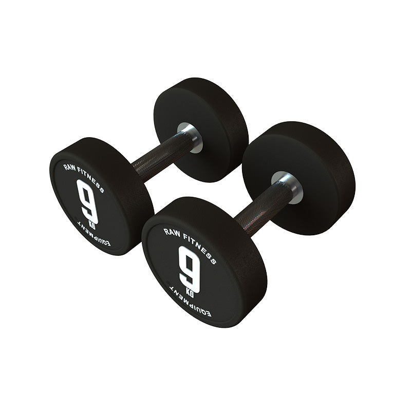 DUMBBELL – CPU ROUND 9KG PAIR - RAW Fitness Equipment