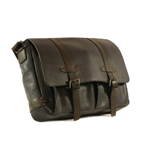 Dark brown Genuine Leather Messenger style laptop bag