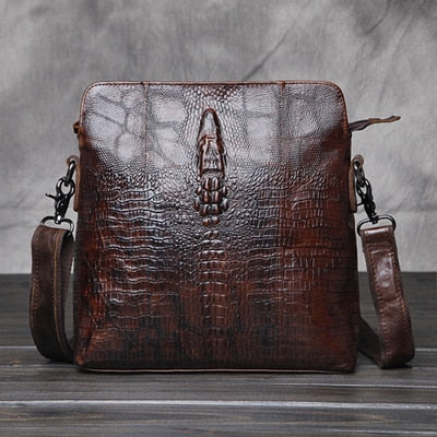 Wow factor Genuine Leather crocodile look marbled coffee coloured and dark tan mens messenger bag