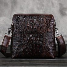 Load image into Gallery viewer, Wow factor Genuine Leather crocodile look marbled coffee coloured and dark tan mens messenger bag