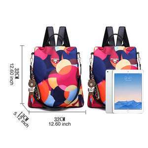 High Street Ladies Waterproof Backpack - Leaf pattern