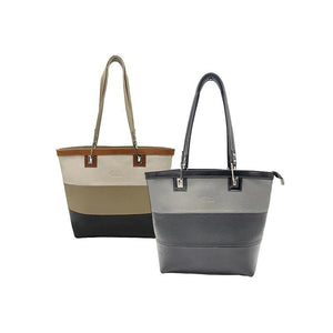 Grey and Black Genuine leather Ladies large Tote bags, Made in Italy